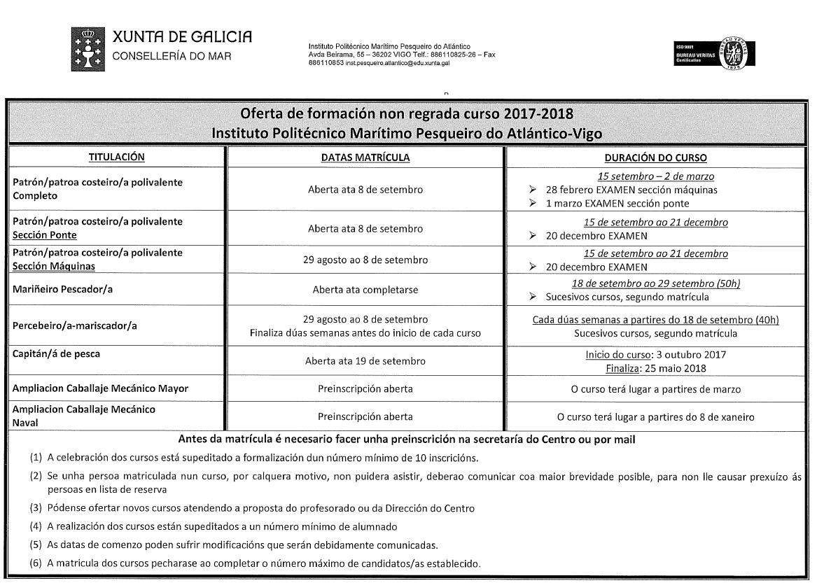 Calendario Politecnico.Calendario Do Instituto Politecnico Maritimo Pesqueiro Do
